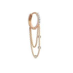 Kismet by Milka 14ct rose gold and diamond drop hoop earring (single)