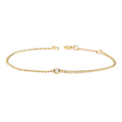Zoe Chicco 14ct gold and diamond curb chain bracelet+C74