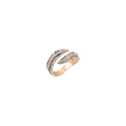 Kismet by Milka 14ct gold double row feather pinky ring