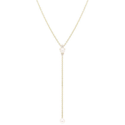 Zoe Chicco 14ct gold pearl and diamond lariat
