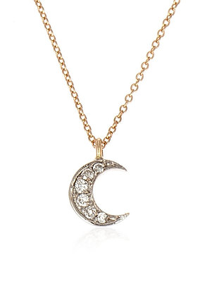 Kismet by Milka 14ct rose gold and diamond moon necklace
