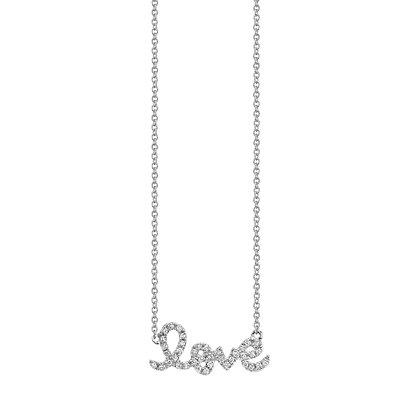 Sydney Evan 14ct white gold 'love' script necklace