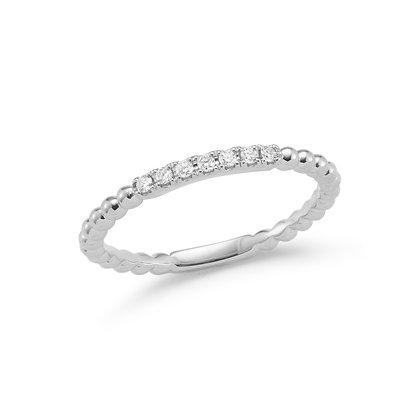 Dana Rebecca 14ct white gold and diamond Poppy Rae semi pave band ring