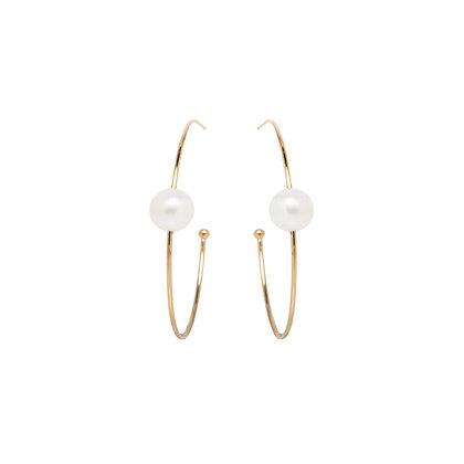 Zoe Chicco 14ct gold and pearl hoop earrings