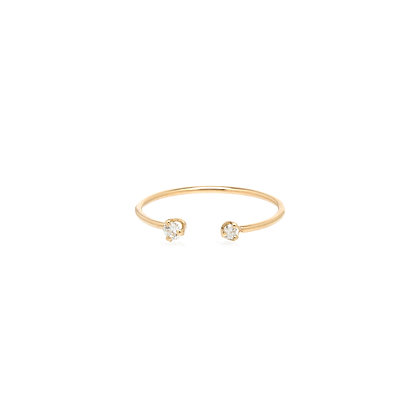 Zoe Chicco 14ct gold open ring with mixed diamonds