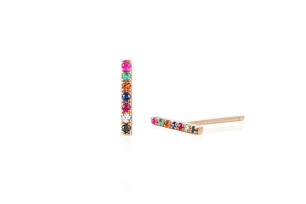 EF Collection 14ct rose gold and precious stones rainbow bar stud earrings