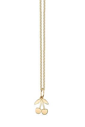 Sydney Evan 14ct gold cherry charm necklace