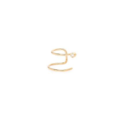 Zoe Chicco 14ct gold and diamond double band ear cuff (single)