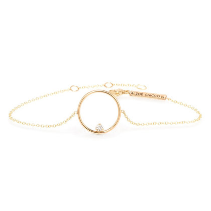 Zoe Chicco 14ct gold and diamond circle bracelet