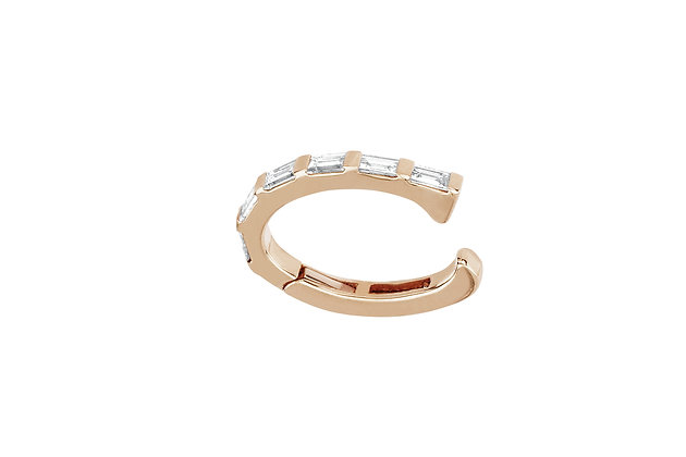 EF Collection 14ct rose gold and baguette diamond ear cuff (single)