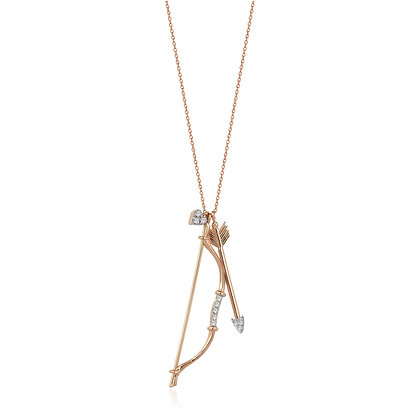Kismet by Milka 14ct rose gold and diamond bow and arrow necklace