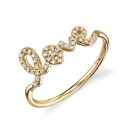 Sydney Evan 14ct gold and diamond 'love' ring