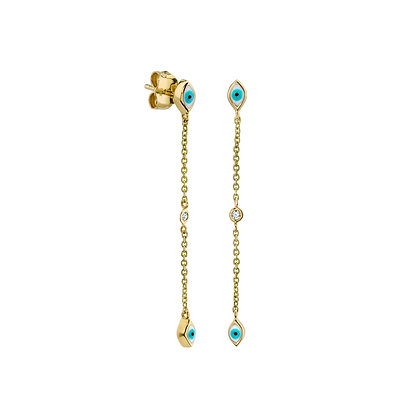 Sydney Evan 14ct gold and diamond Evil eye cascade earrings