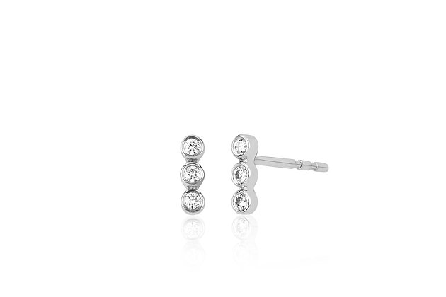 EF Collection 14ct white gold and triple diamond bezel stud earrings