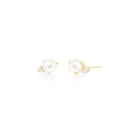 Zoe Chicco 14ct gold, pearl and diamond stud earring