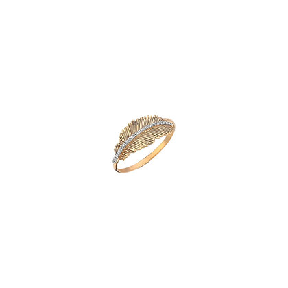 Kismet by Milka 14ct rose gold and diamond feather ring