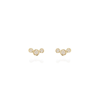 Zoe Chicco 14ct gold and three diamond curved stud earrings