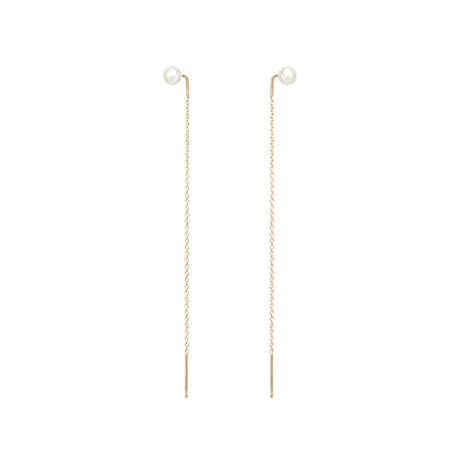 Zoe Chicco 14ct gold and pearl threader earrings