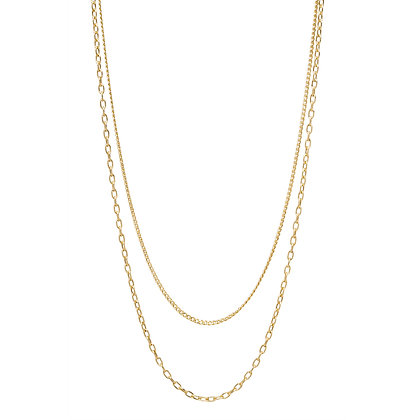 Zoe Chicco 14ct gold double chain curb necklace