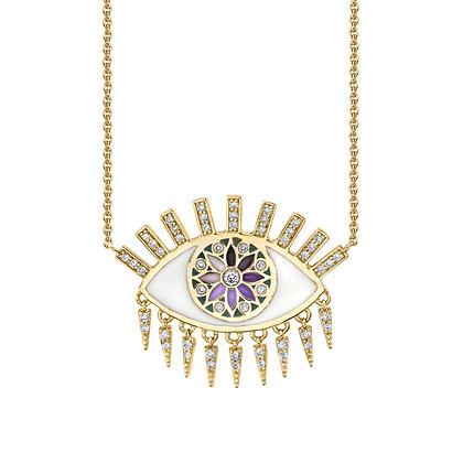Sydney Evan 14ct gold and diamond kaleidoscope enamel evil eye fringe necklace