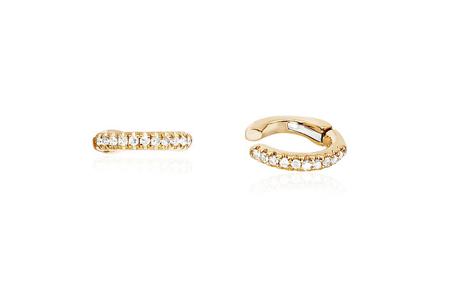 EF Collection 14ct gold and diamond small ear cuff (single)
