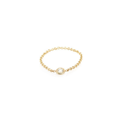 Zoe Chicco 14ct gold and diamond chain ring