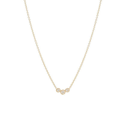 Zoe Chicco 14ct gold and three diamond curved bar necklace