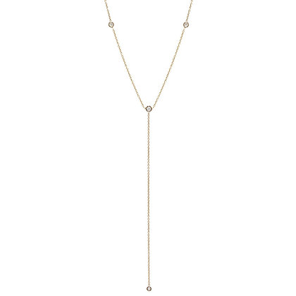 Zoe Chicco 14ct gold and diamond lariat necklace
