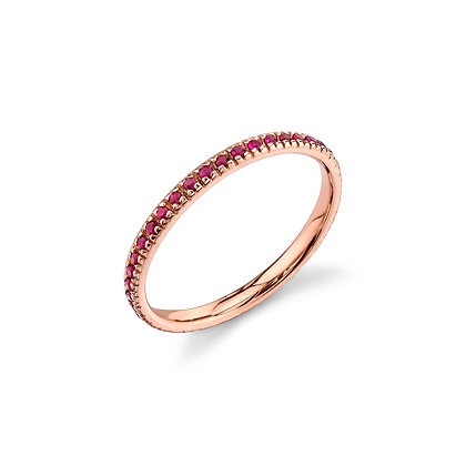 Sydney Evan 14ct gold and ruby eternity band