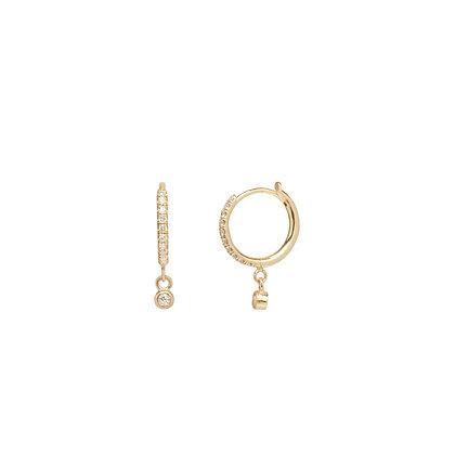 Zoe Chicco 14ct gold and pave diamond huggies