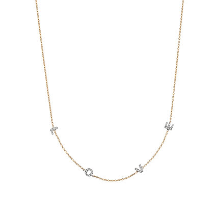 Kismet by Milka 14ct rose gold and diamond 'love' spaced out necklace