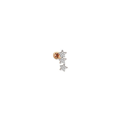 Kismet by Milka 14ct rose gold and diamond three stars piercing (single)