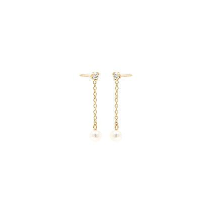 Zoe Chicco 14ct gold pearl and diamond chain earrings