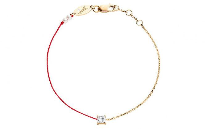 Redline 18ct rose gold Royal princess diamond thread chain bracelet (red)