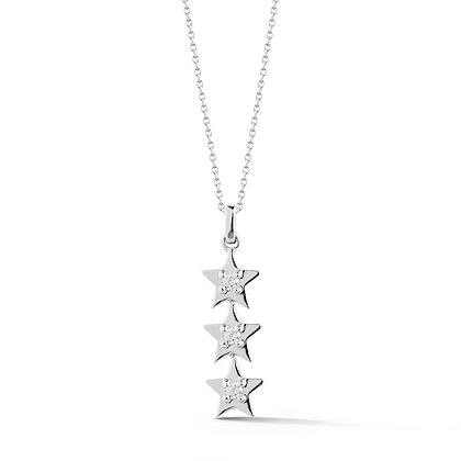 Dana Rebecca 14ct white gold and diamond Julianne Himiko triple star necklace