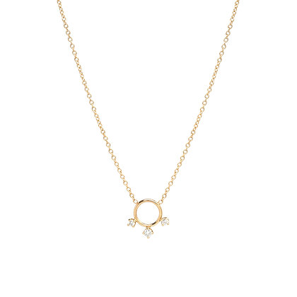 Zoe Chicco 14ct gold and diamond circle necklace