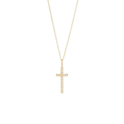 Zoe Chicco 14ct gold and diamond cross necklace