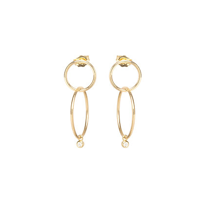 Zoe Chicco 14ct gold and diamond double drop hoop earrings