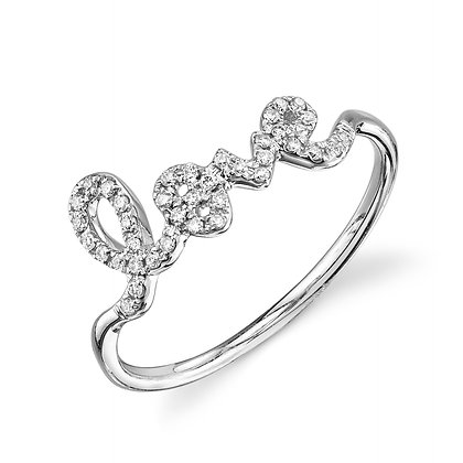 Sydney Evan 14ct white gold and diamond 'Love' ring