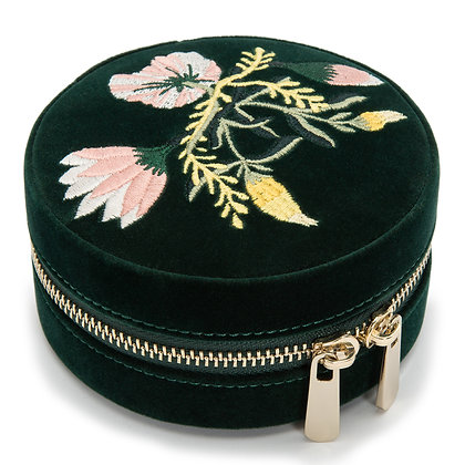 WOLF forest green floral velvet jewellery box