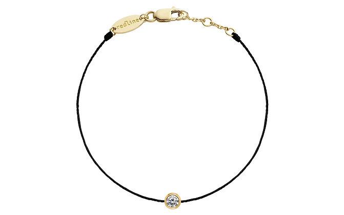 Redline 18ct gold and diamond pure black thread bracelet