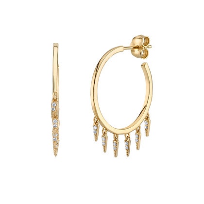 Sydney Evan 14ct gold and diamond fringe hoop earrings