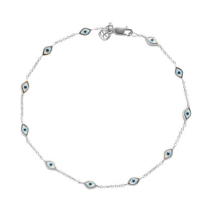 Sydney Evan 14ct white gold multi mini eye bracelet