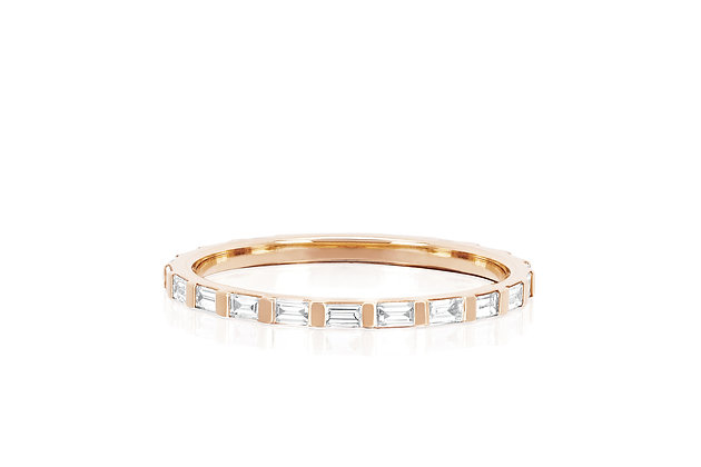 EF Collection 14ct rose gold and baguette diamond eternity stack ring
