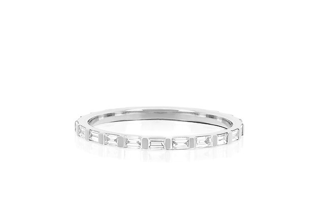 EF Collection 14ct white gold and baguette diamond eternity stack ring