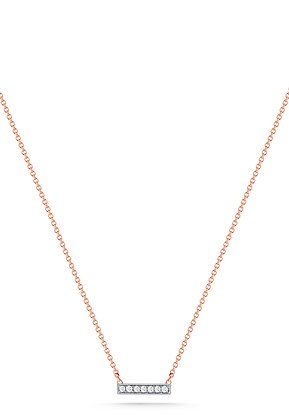 Dana Rebecca 14ct rose gold and diamond Sylivie Rose bar necklace