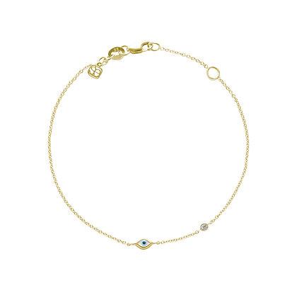 Sydney Evan 14ct rose gold and diamond evil eye bracelet