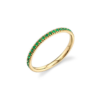 Sydney Evan 14ct gold and emerald eternity band