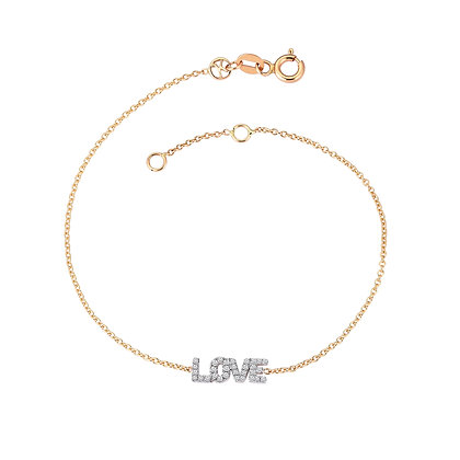 Kismet by Milka 14ct rose gold and diamond 'love' bracelet