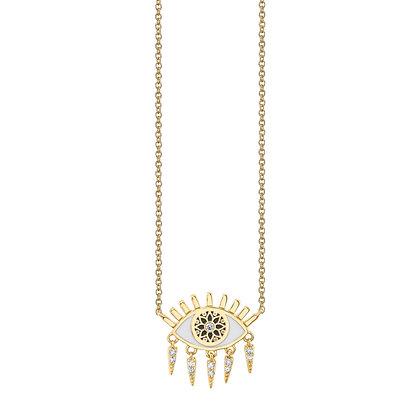 Sydney Evan 14ct gold and diamond kaleidoscope evil eye fringe necklace